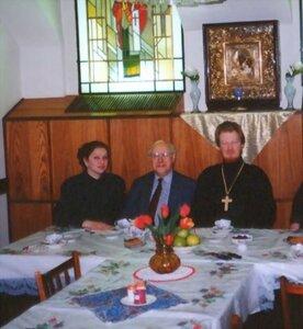 Отец Викентий, Мстислав Растропович и Наталия Николаевна Рябова.