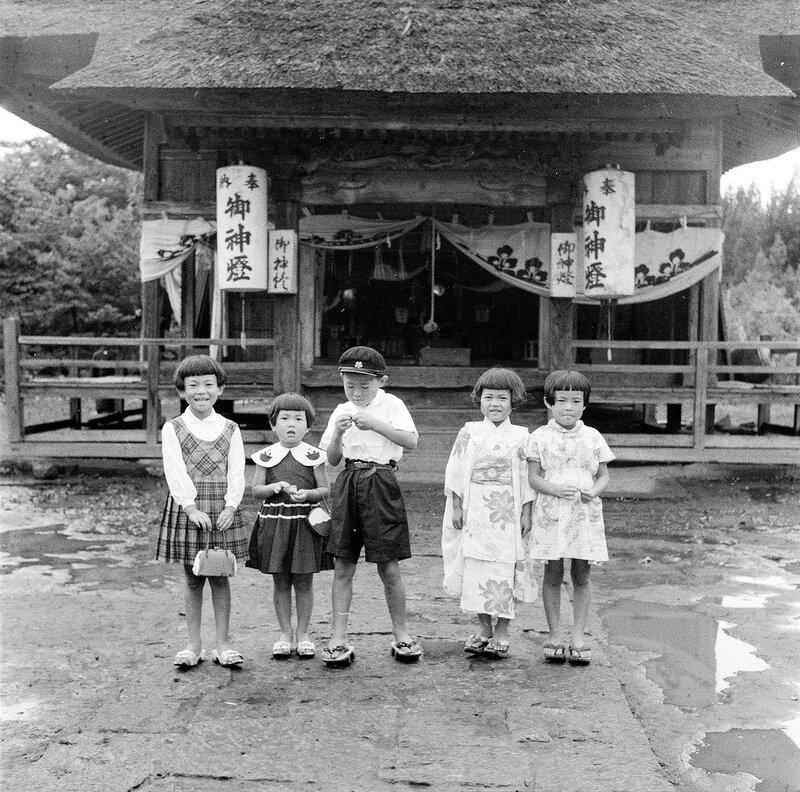 Children in front of Shrine - 1950s Japan