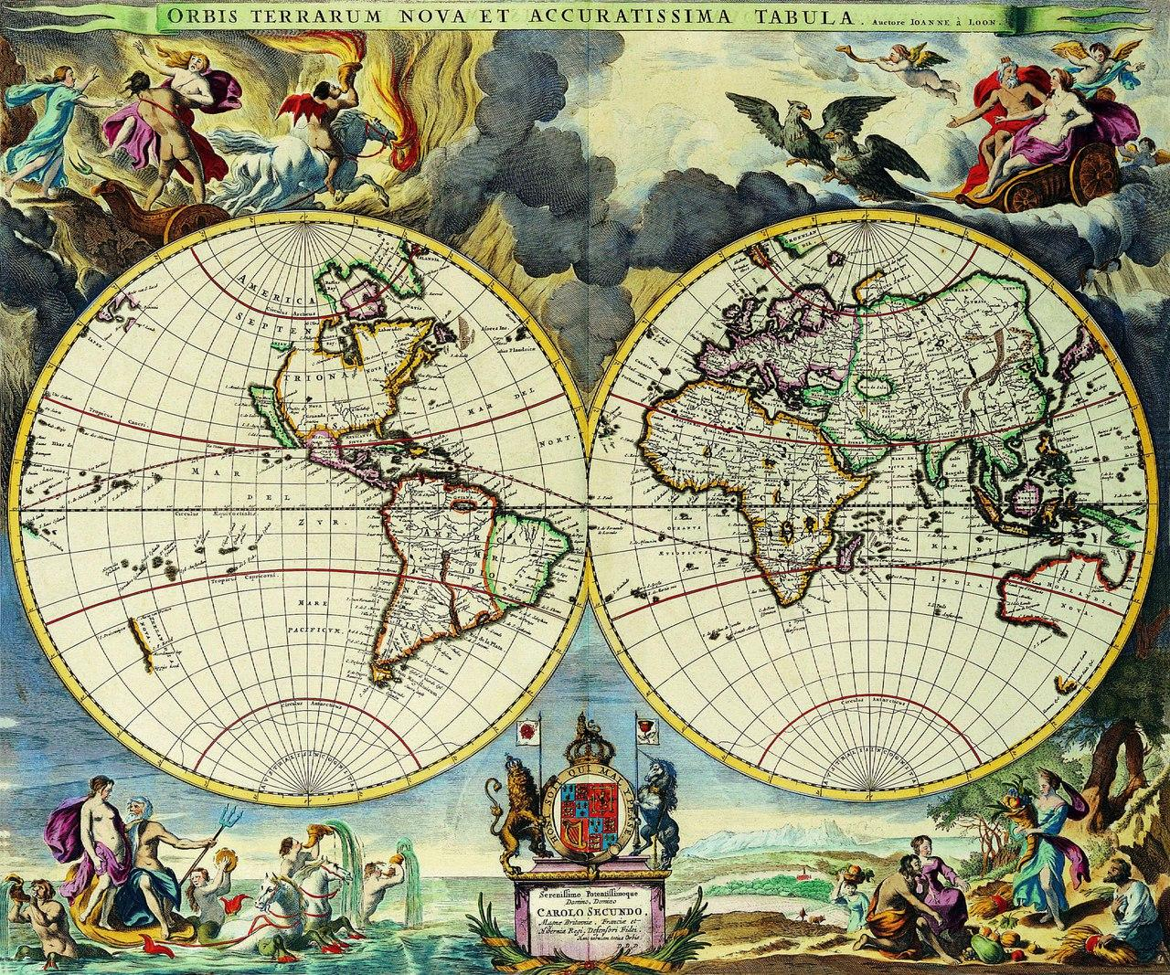 Старинные карты мира