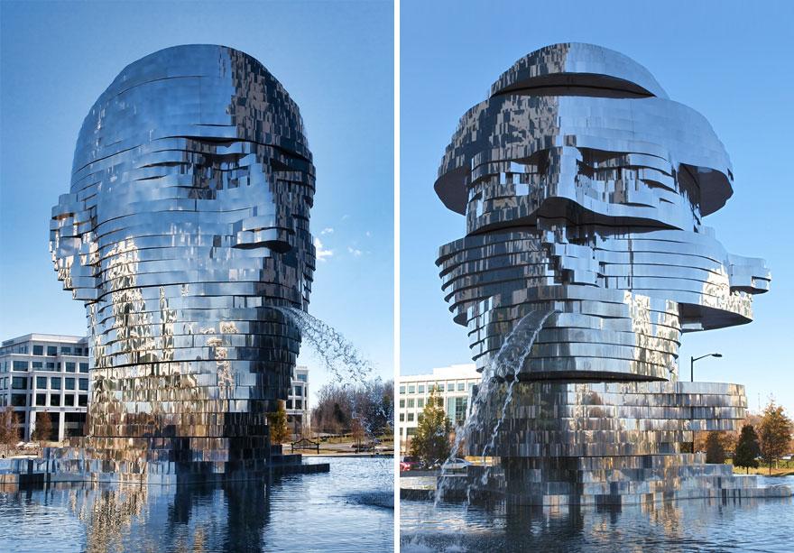 Фонтан-скульптура Metalmorphosis — работа чешского скульптура Давида Черны высотой 7,6 метра и весом