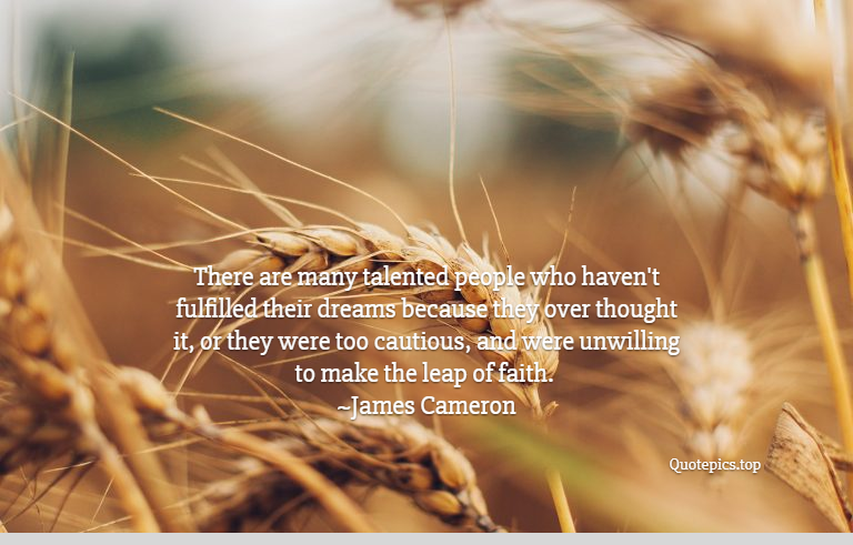 There are many talented people who haven't fulfilled their dreams because they over thought it, or they were too cautious, and were unwilling to make the leap of faith. ~James Cameron