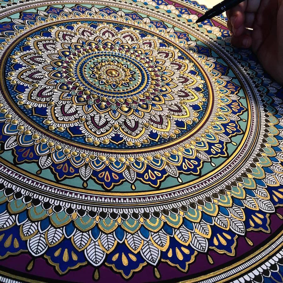 Intricate Mandalas Enhanced with Gold Leaf