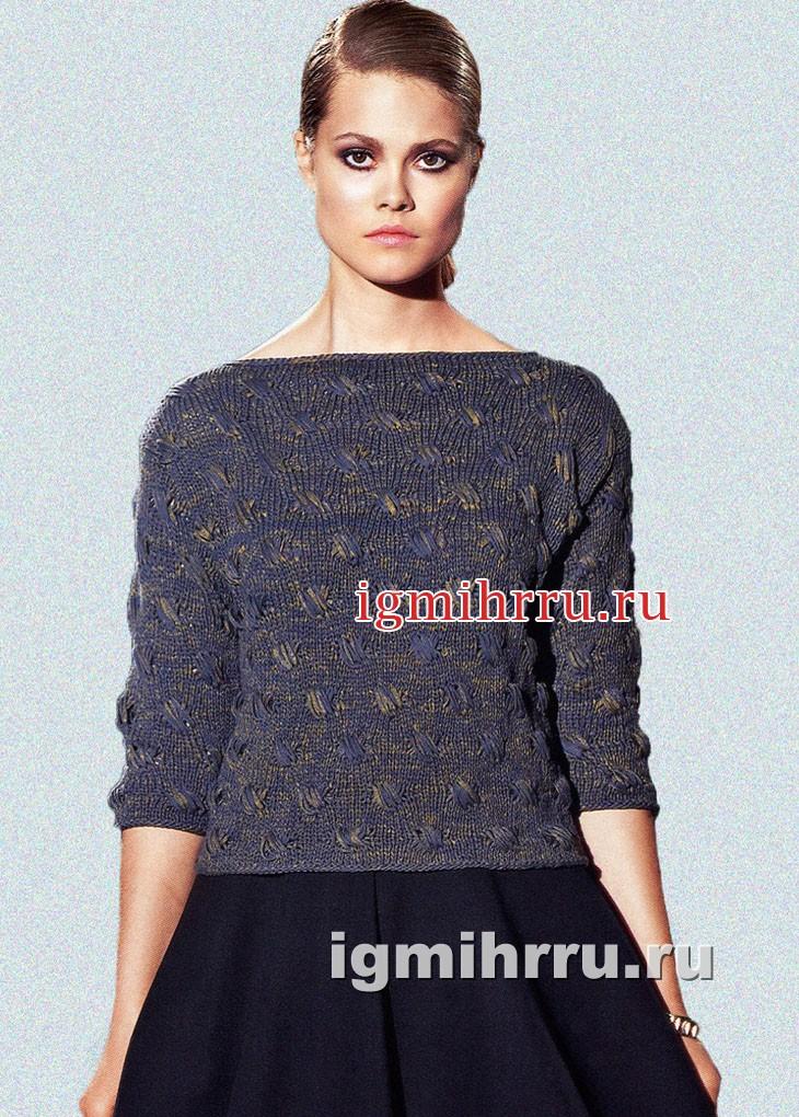 Черно-золотистый пуловер с вырезом лодочка. Вязание спицами