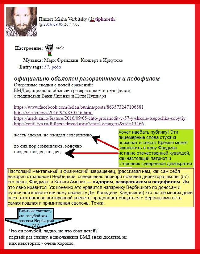 57, Вербицкий, Сексоты, Фридман, Школа, Выборы, клевета