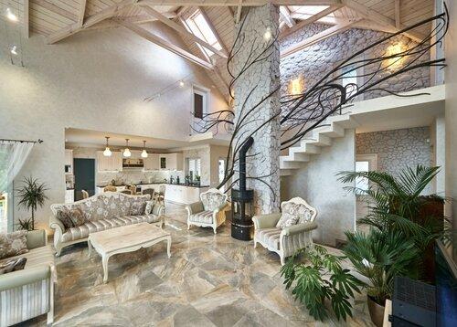006 холл, перила лестницы, камин, интерьер
