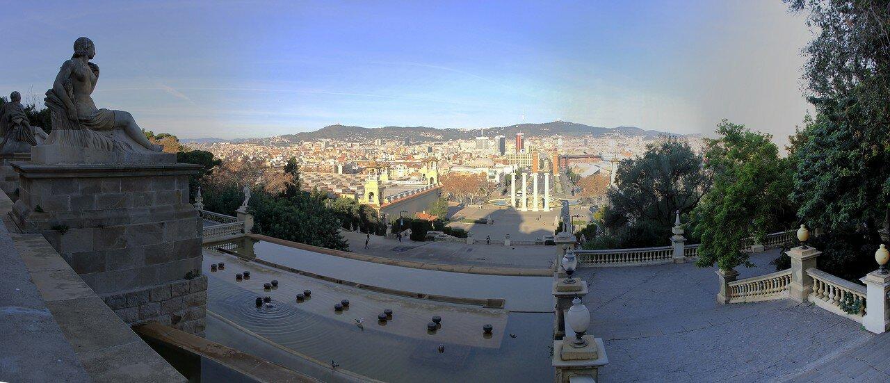 Barcelona. View from Miradoro de Palau National. Panorama