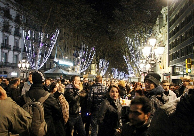 Барселона. Новый год на бульваре Рамблас