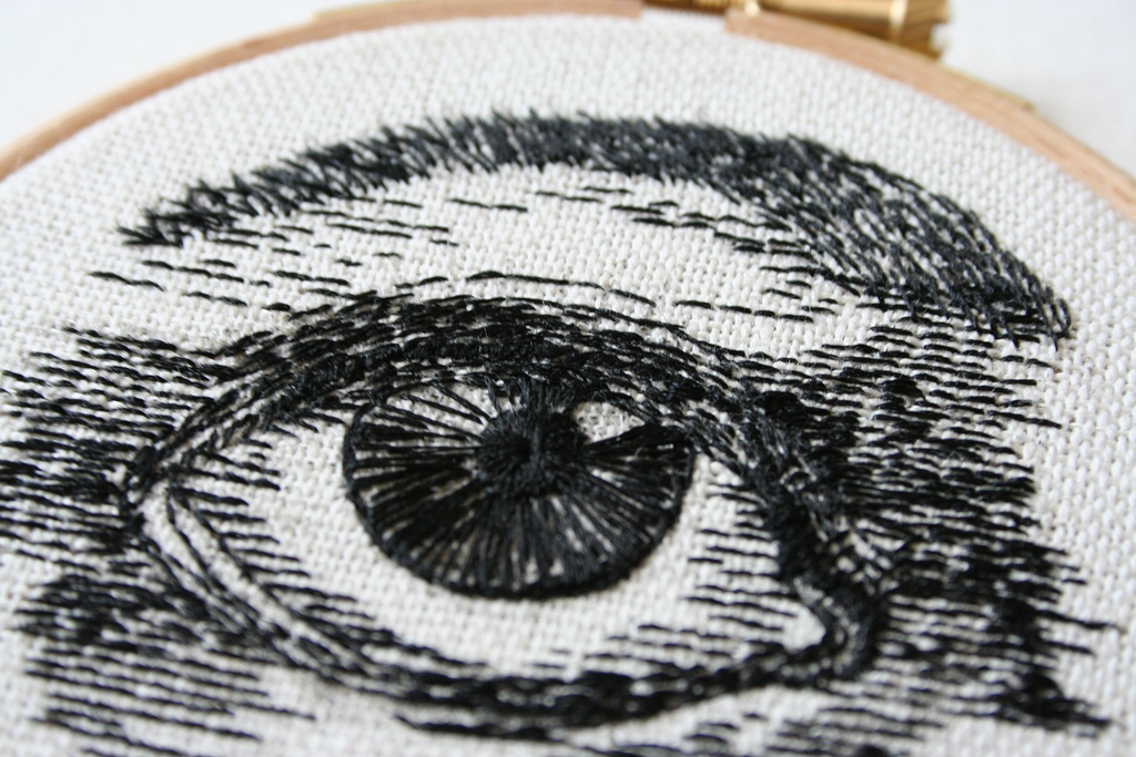 Embroidery artist and jeweler Sam P. Gibson creates a wide variety of hand-stitched illustrations fr