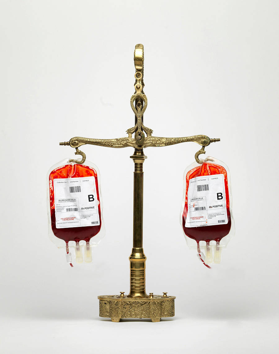 No blood is better, 2015 (Palestinian and Israeli blood)