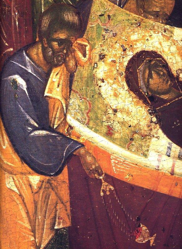 Успение Пресвятой Богородицы. Икона. Около 1392 года. Мастерская Феофана Грека. Фрагмент.