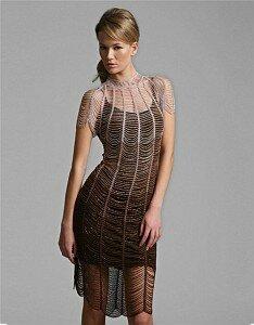 Серебряный дождь - вечернее платье крючком или спицами