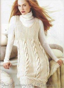 Зимний жемчуг. Сарафан из Vogue knitting Наши воплощения