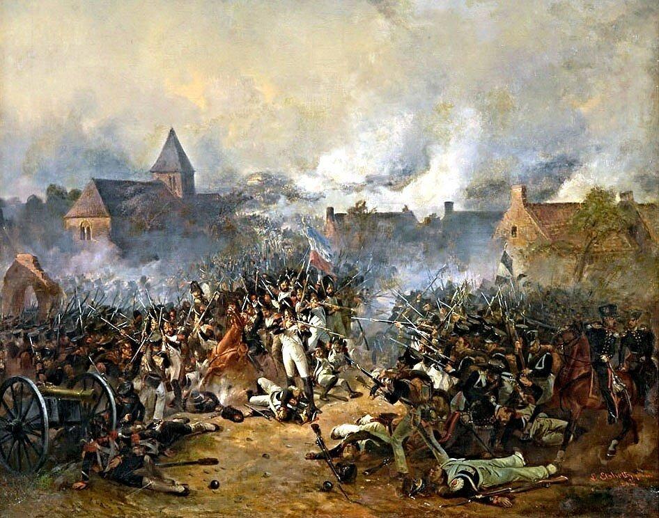 Ersturmung des Dorfes Planchenois in der Schlacht von Waterloo am 18. Juni 1815 by Ludwig Elsholtz.jpg