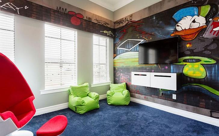 6. Интерьер детской в эклектичном стиле Говоря о дизайне, посвященном теме Микки Мауса, в первую оче