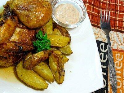 Цыплёнок с картошкой по-деревенски