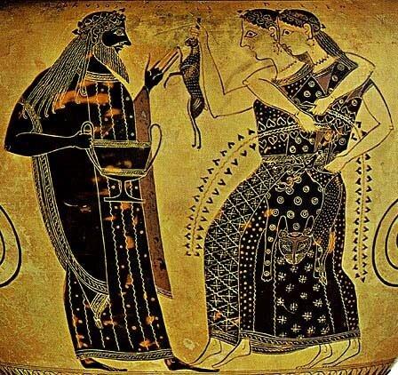 Дионис  и две менады, одетые в шкуры пантерАнтичная керамикаАттическая чернофигурная амфора работы художника Амазиса,ок. 540-530 гг. до н.э.