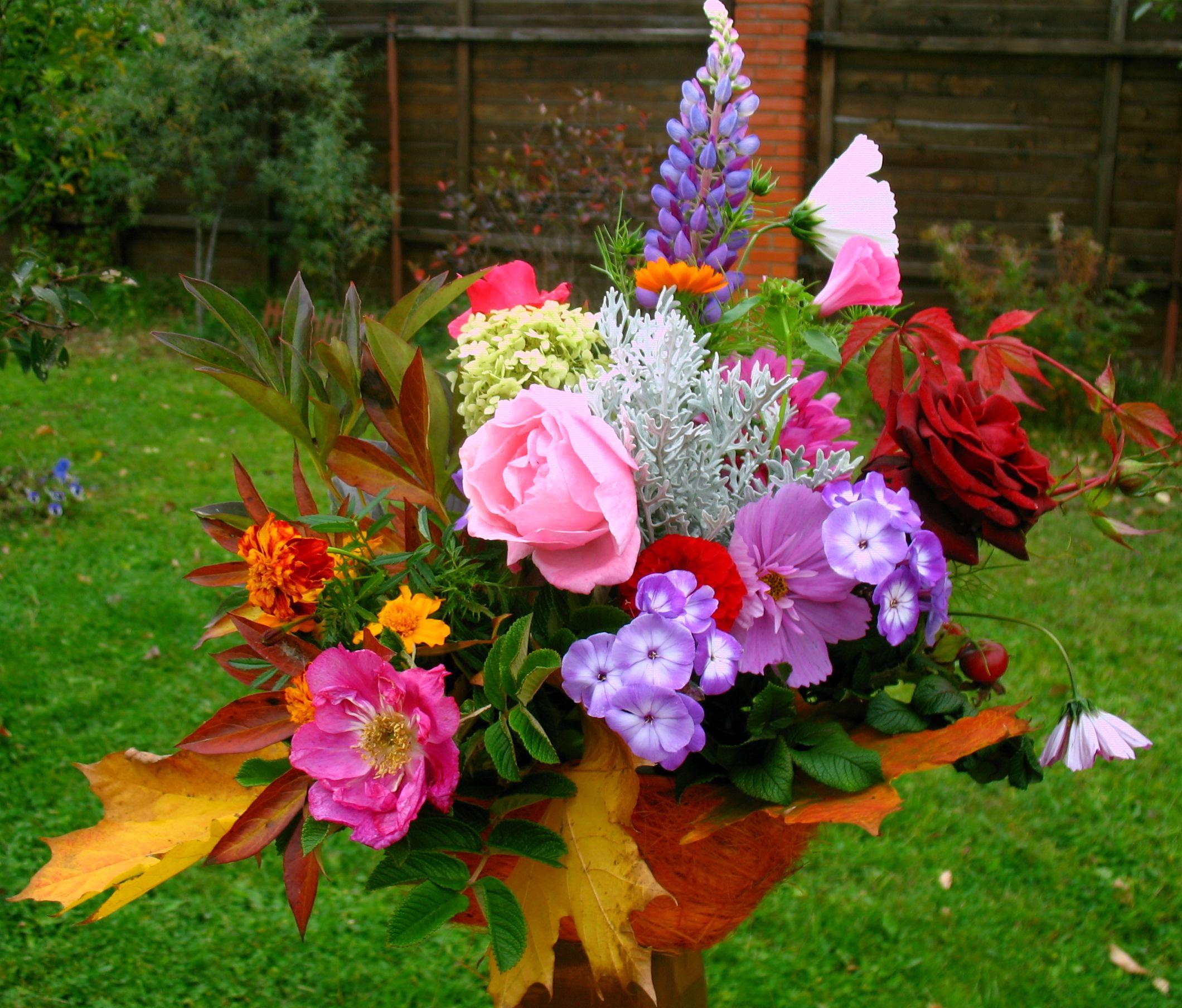 Букет из дачных цветов к 1 сентября своими руками. - Участок и сад 16
