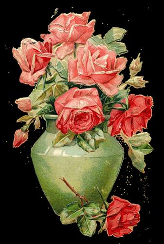 Рози у вазі схема для вишивання.