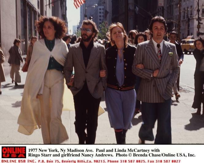 1977 Paul and Linda McCartney with Ringo Starr and girlfriend Nancy Lee Andrews. Linda Eastman died of c