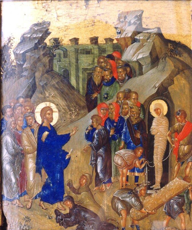 Воскрешение Праведного Лазаря. Византийская икона конца XIV - начала XV века.