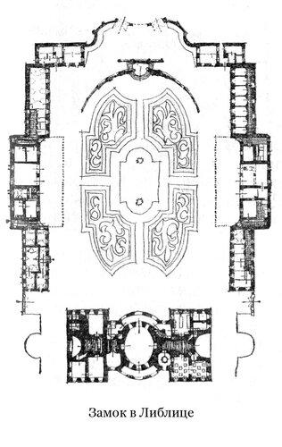 Замок в Либлице, план
