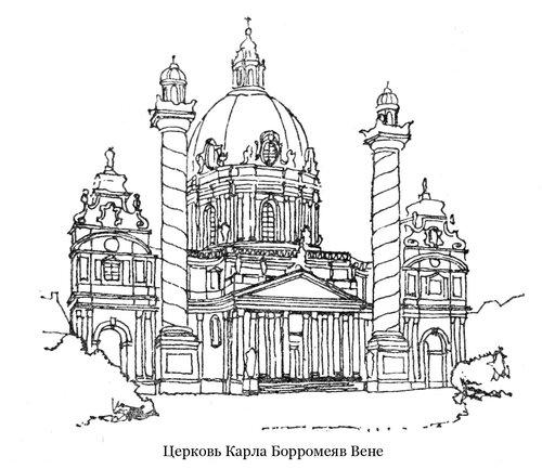Церковь Карла Борромея в Вене, общий вид