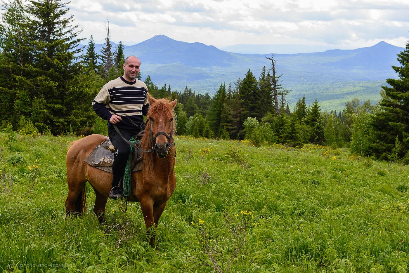 5. Конный поход на гору Ялангас. Вообще-то, я поднимался на другой лошади, эта - моей жены. Отзывы об отдыхе на турбазе в Башкирии (100, 48, 6.3, 1/125)