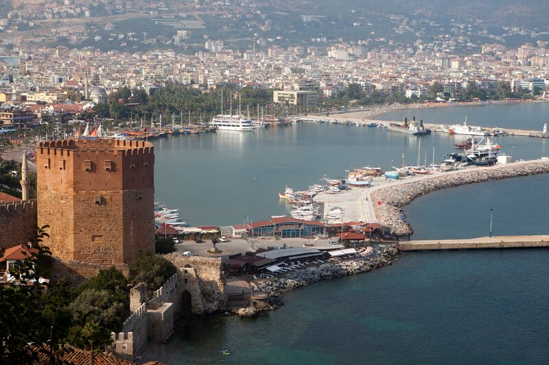 Red brick tower in Alanya