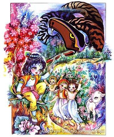 Агхасура хочет проглотить Кришну и его друзей