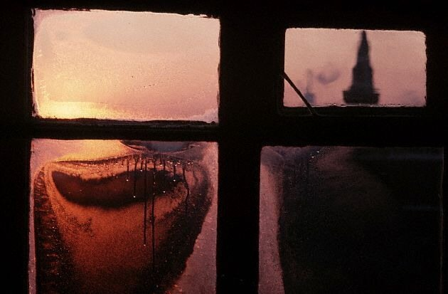 Sunrise View of the Kremlin Through a Frosted Window