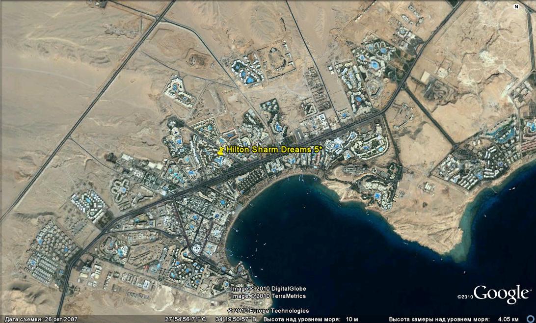 Карта Шарм-Эль-Шейха С Отелями Со Спутника
