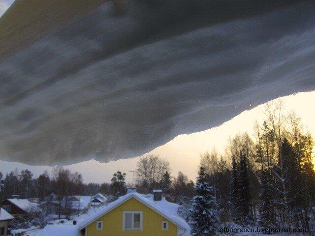 Снег окно Варкаус Финляндия