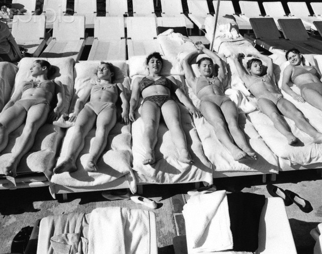 Russian Women's Olympic Gymnastics Team Sunbathing