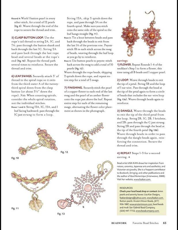подробные схемы из бисера, модный бисер, схема колье из бисера, как плести из бисера колье, цветы из бисера схемы.