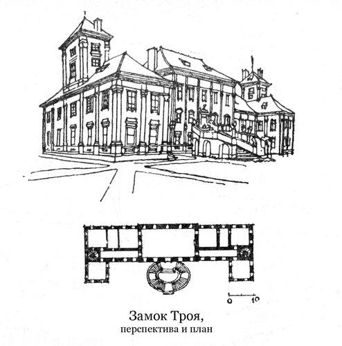 Тройский замок, общий вид и план