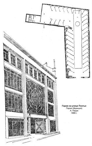 Гараж на улице Понтье, фасад и план