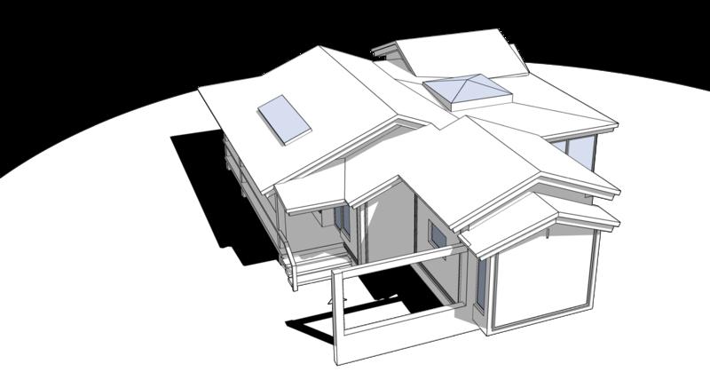 Крыльцо парковка перед домом. Кровля жилого дома с остекленной террасой и зенитными окнами на крыше