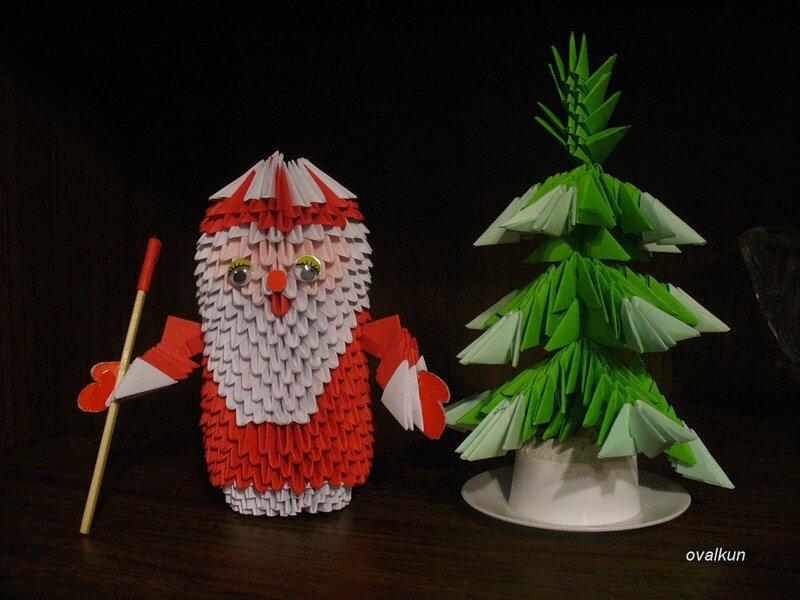 Модульные оригами новогодних поделок и схемы