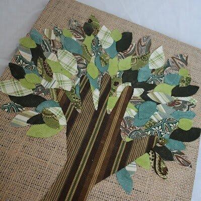 аппликация из ткани - поделка дерева