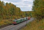 Электровозы ВЛ10-255 и ВЛ10-277 с путевой машиной ВПР-02