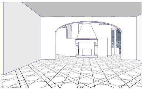 фронтальный портал в гостиной, арка свода над каминным залом. 28 33