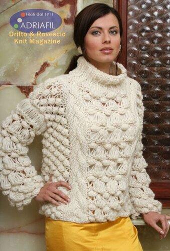 Мужской пуловер - Вязание спицами для. женский свитер грубой вязки.