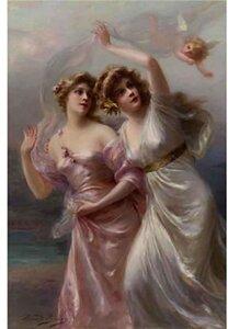 Две девы и Амур. Э. Биссон.
