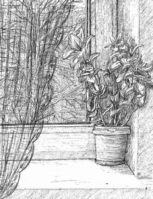 рисунки карандашом на окне железной