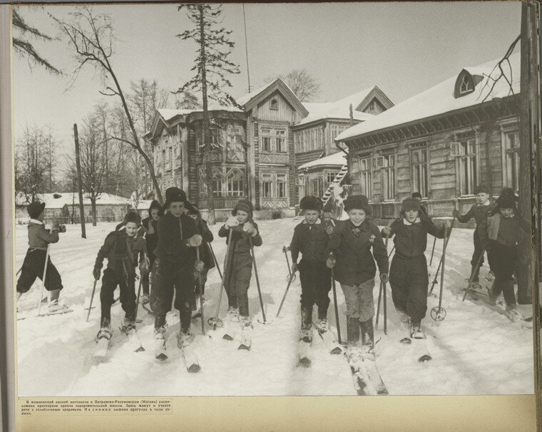 [Children skiing in Petrovsk- Razumovsk (Moscow)