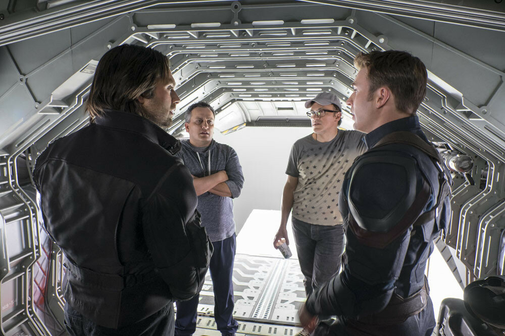 Captain America: Civil WarL to R: Sebastian Stan (Winter Soldier), Director Joe Russo, Director Anthony Russo, and Chris Evans (Captain America) on set.  Ph: Zade Rosenthal ©Marvel 2016