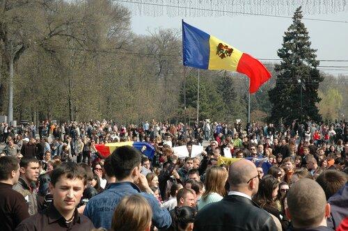 Съемка протестов в Кишиневе с летающего дрона