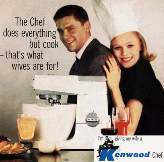 «Она делает все, кроме выпечки. Вот для чего нужна жена!» Сексизм врекламе кухонного комбайна Kenwo