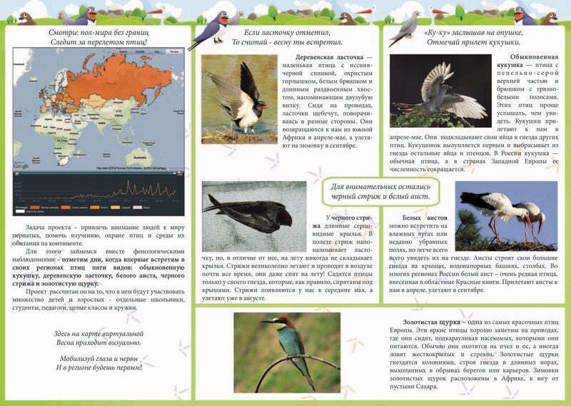 Союз охраны птиц России приглашает к участию в международном образовательном интернет-проекте Весна идет!