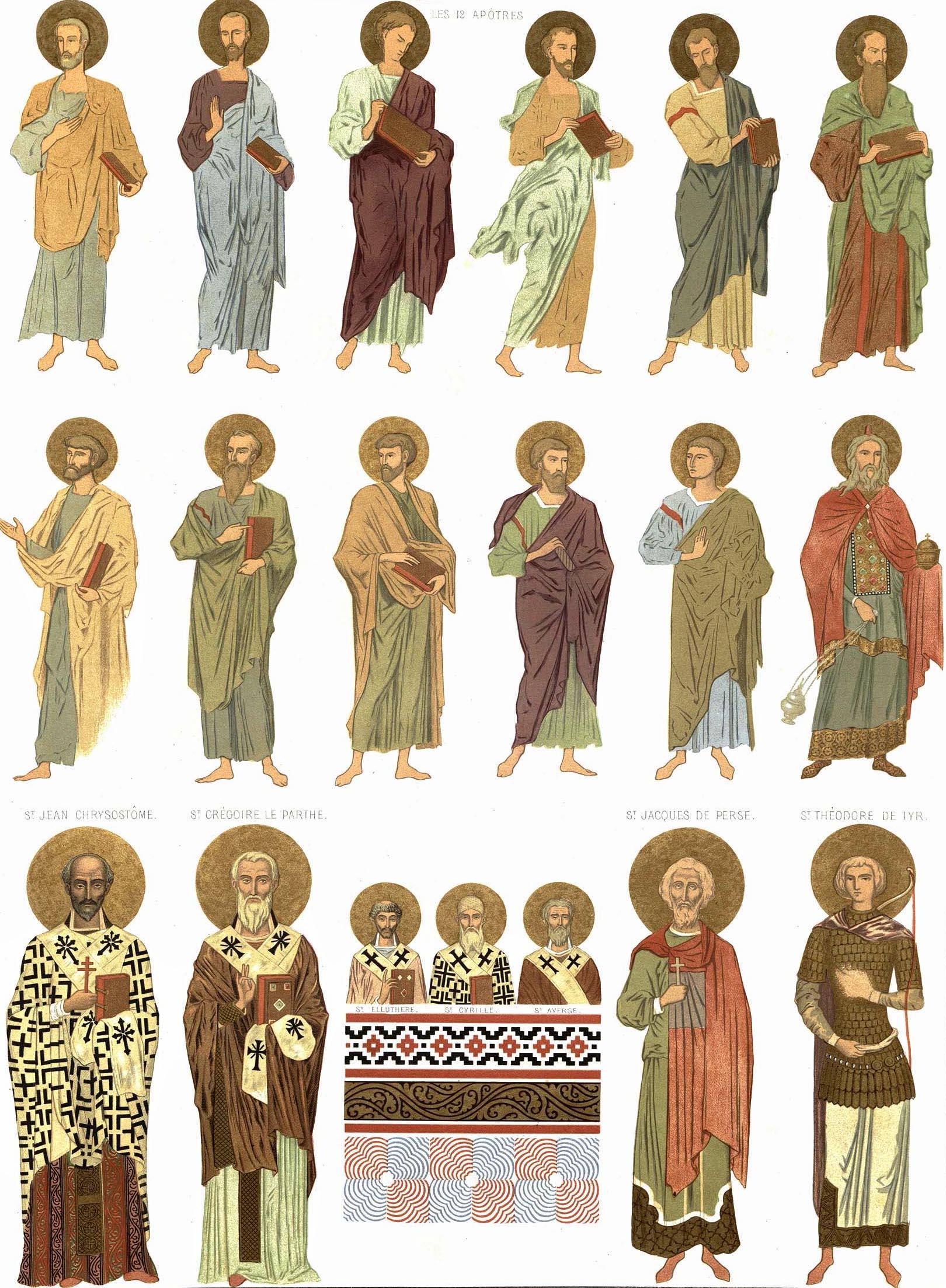 38. Georgie. Eglise de Bethanie, peintures murales / Грузия. Монастырь Бетани. Фрески. 12 апостолов и другие святые